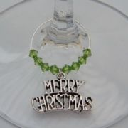 Merry Christmas Wine Glass Charm - Beaded Style